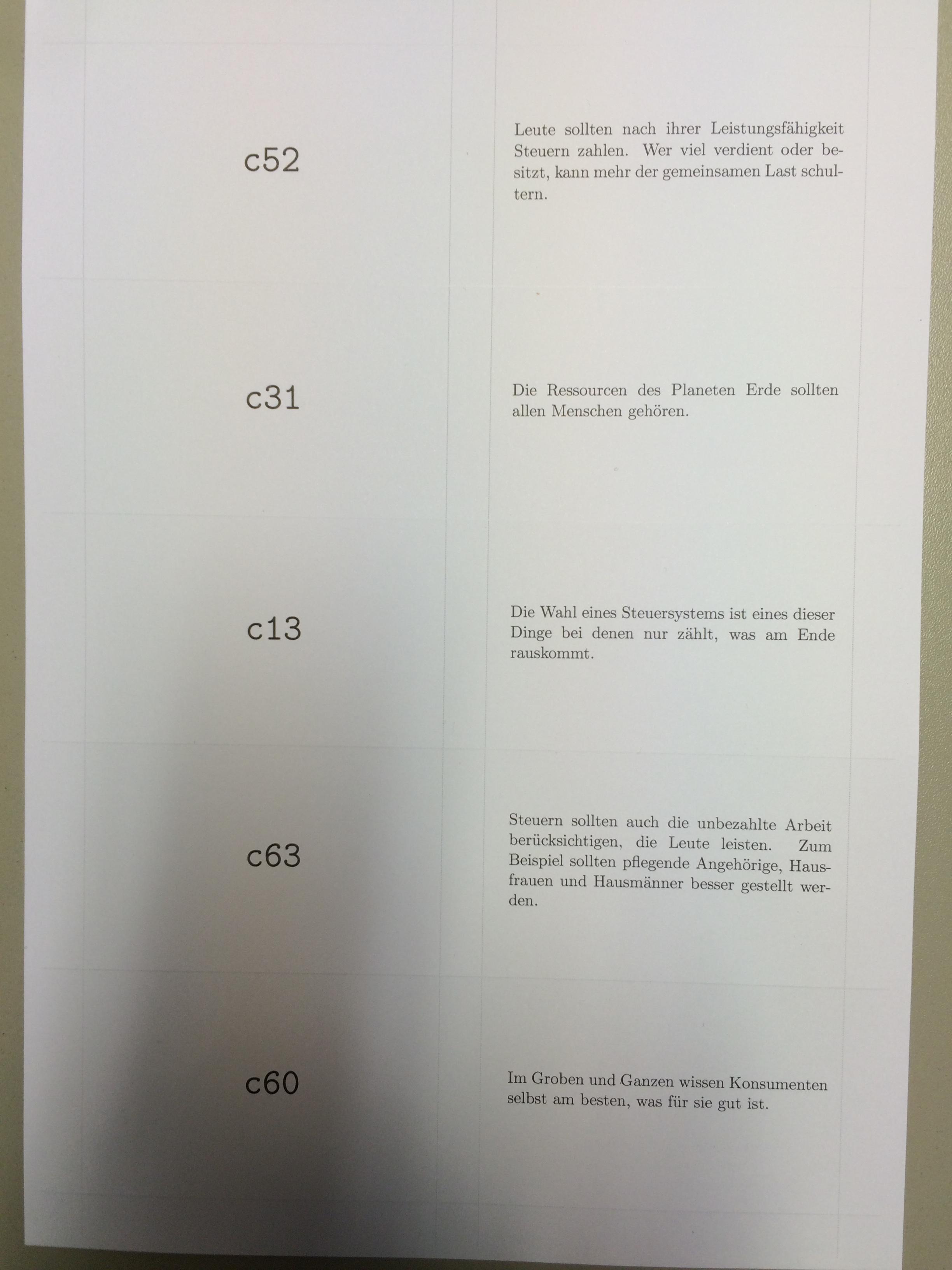 q card printout