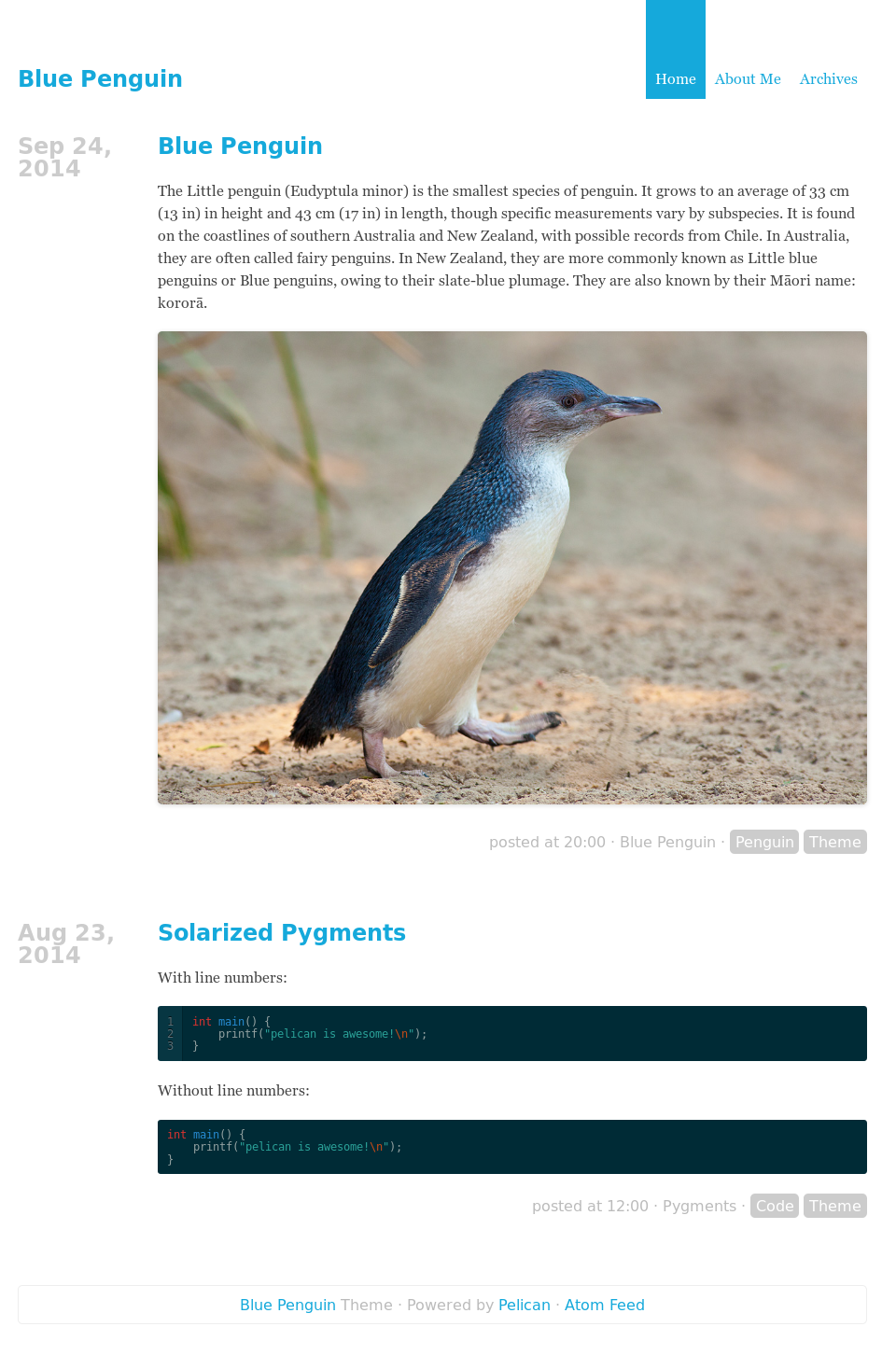 blue-penguin tema para Pelican