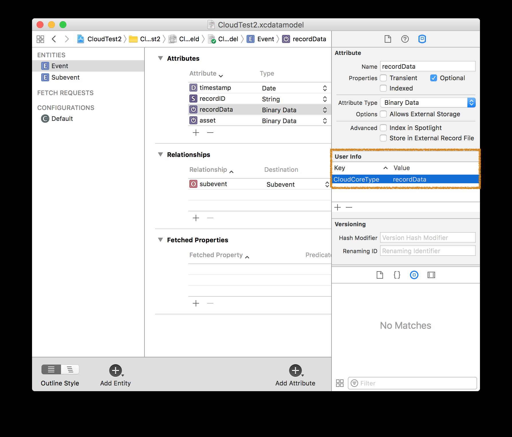 Model editor User Info