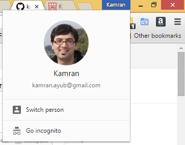 Chrome user switcher is in the corner