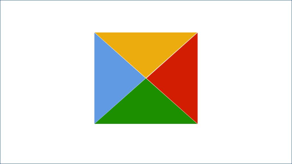 四个彩色三角形拼合的矩形