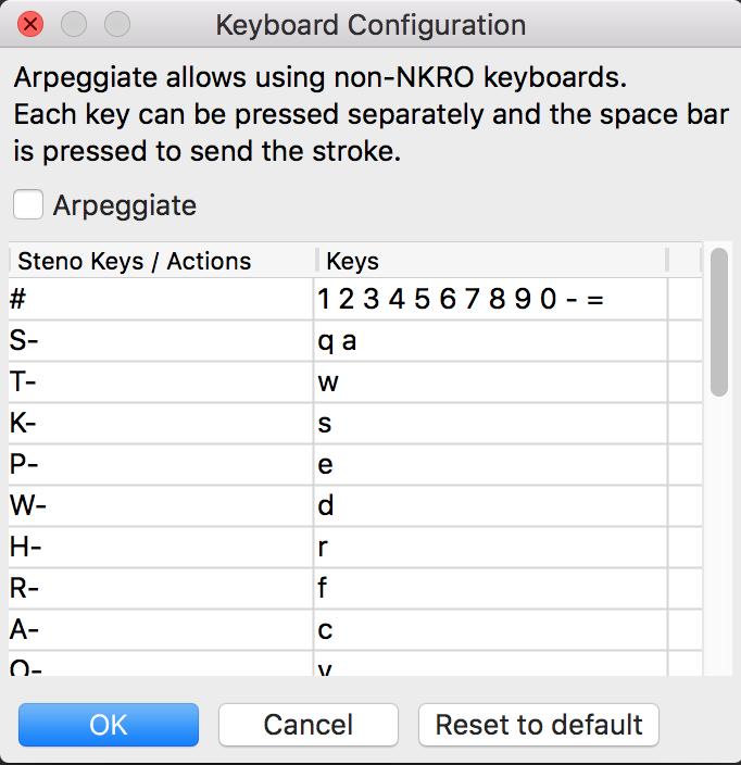 Keyboard config