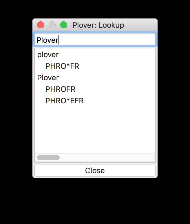 Plover lookup window