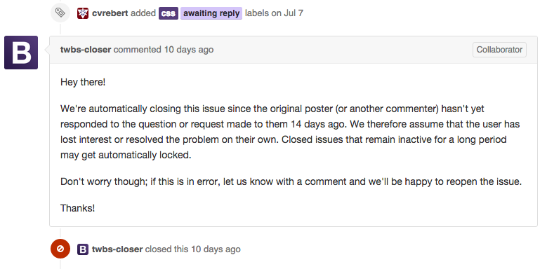 Screenshot of the bot closing an issue