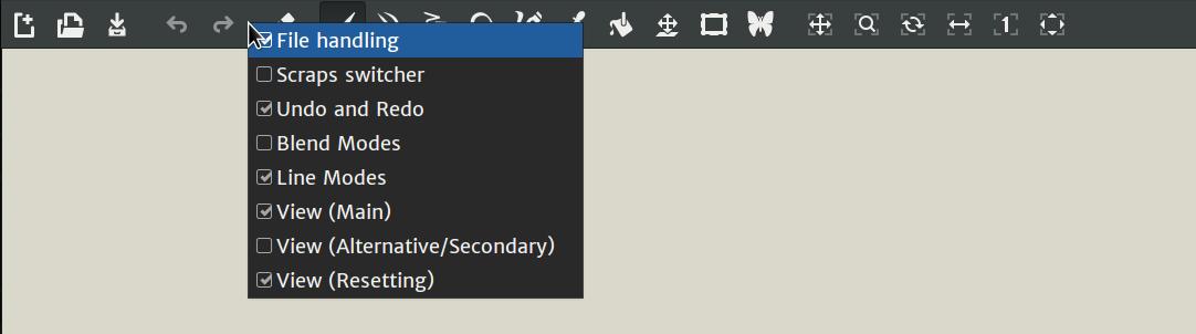 Toolbar Customization Menu