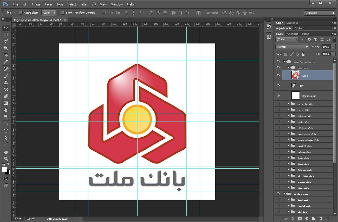 نمایی از خطوط راهنما و محدود سازی ابعاد لوگوها