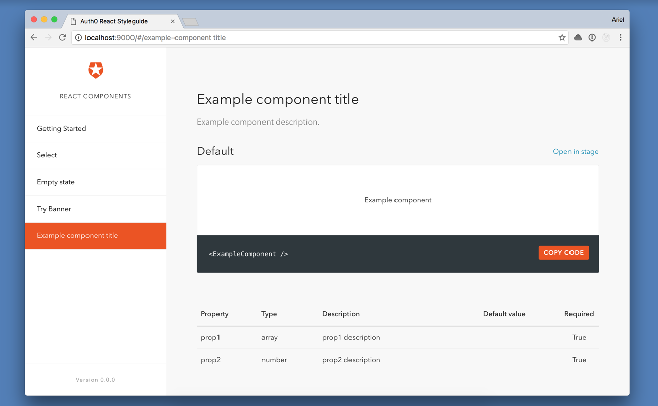 Example component page