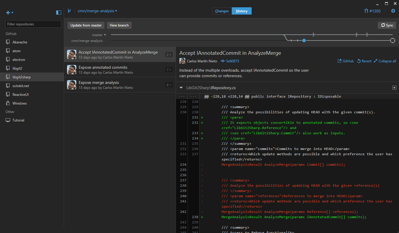 GitHub Desktop with dark theme enabled
