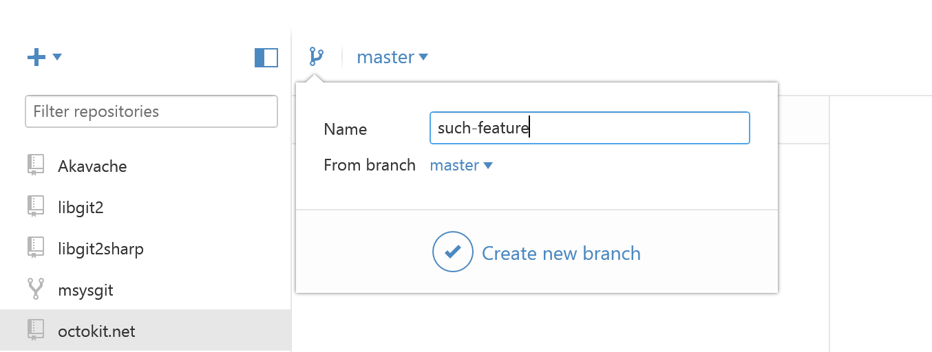 The new create branch popover lets you pick which base branch to use for your new branch