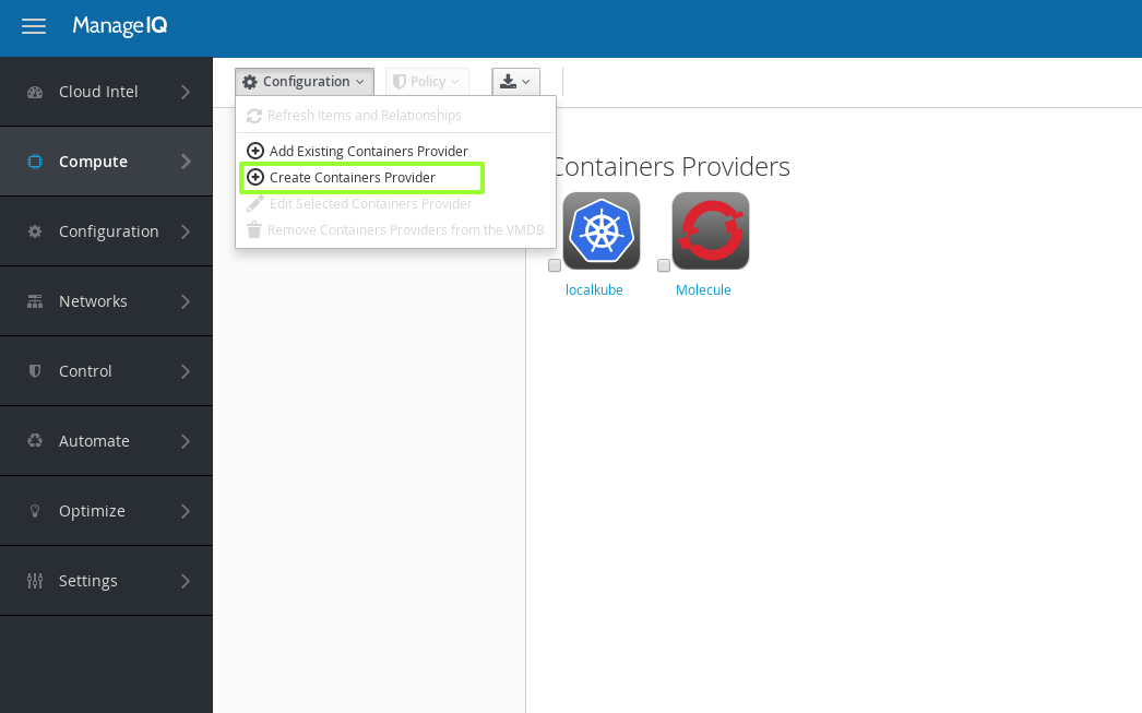 manageiq create containers provider