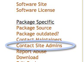 Contact admins link