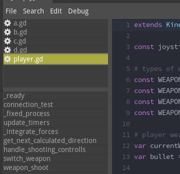 Members overview in script editor
