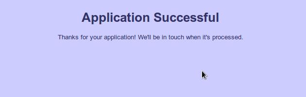 Application Successful