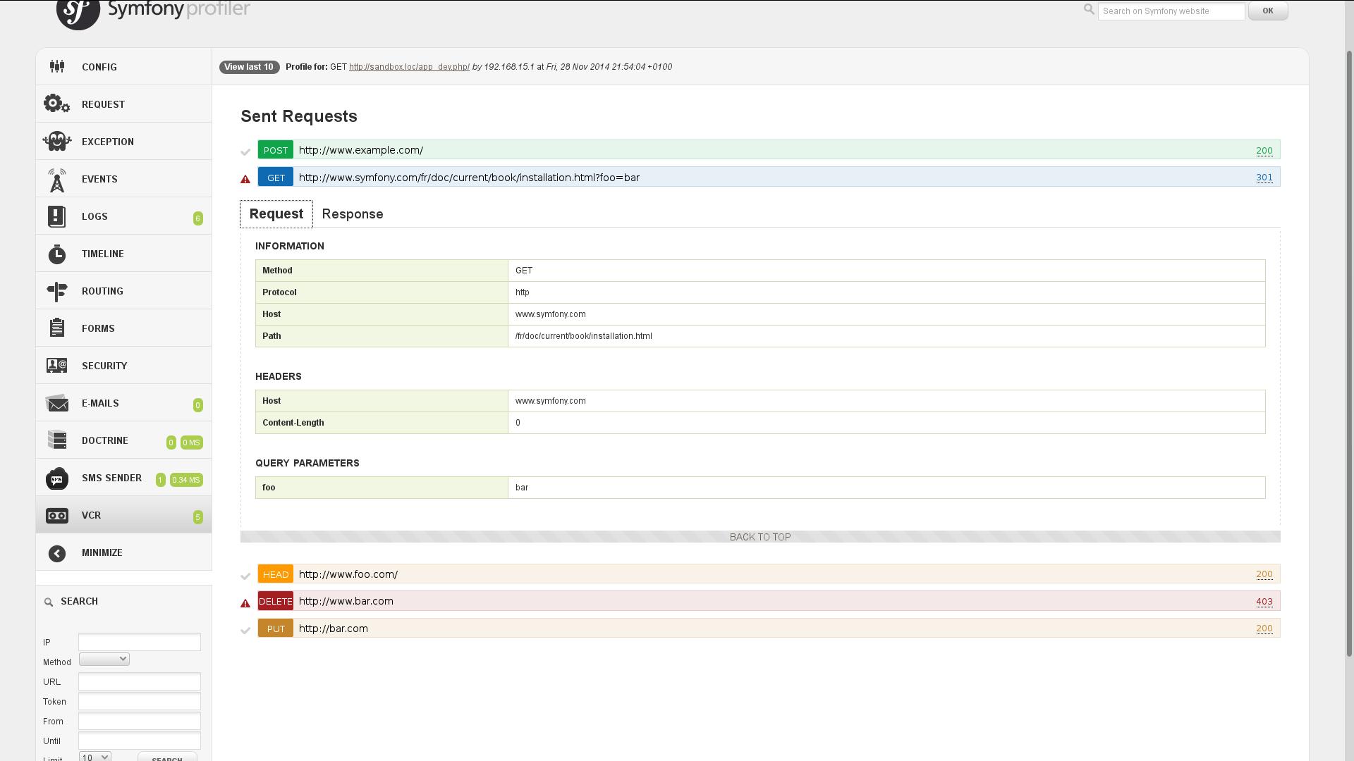 PHP-VCR Symfony web profiler panel - request details