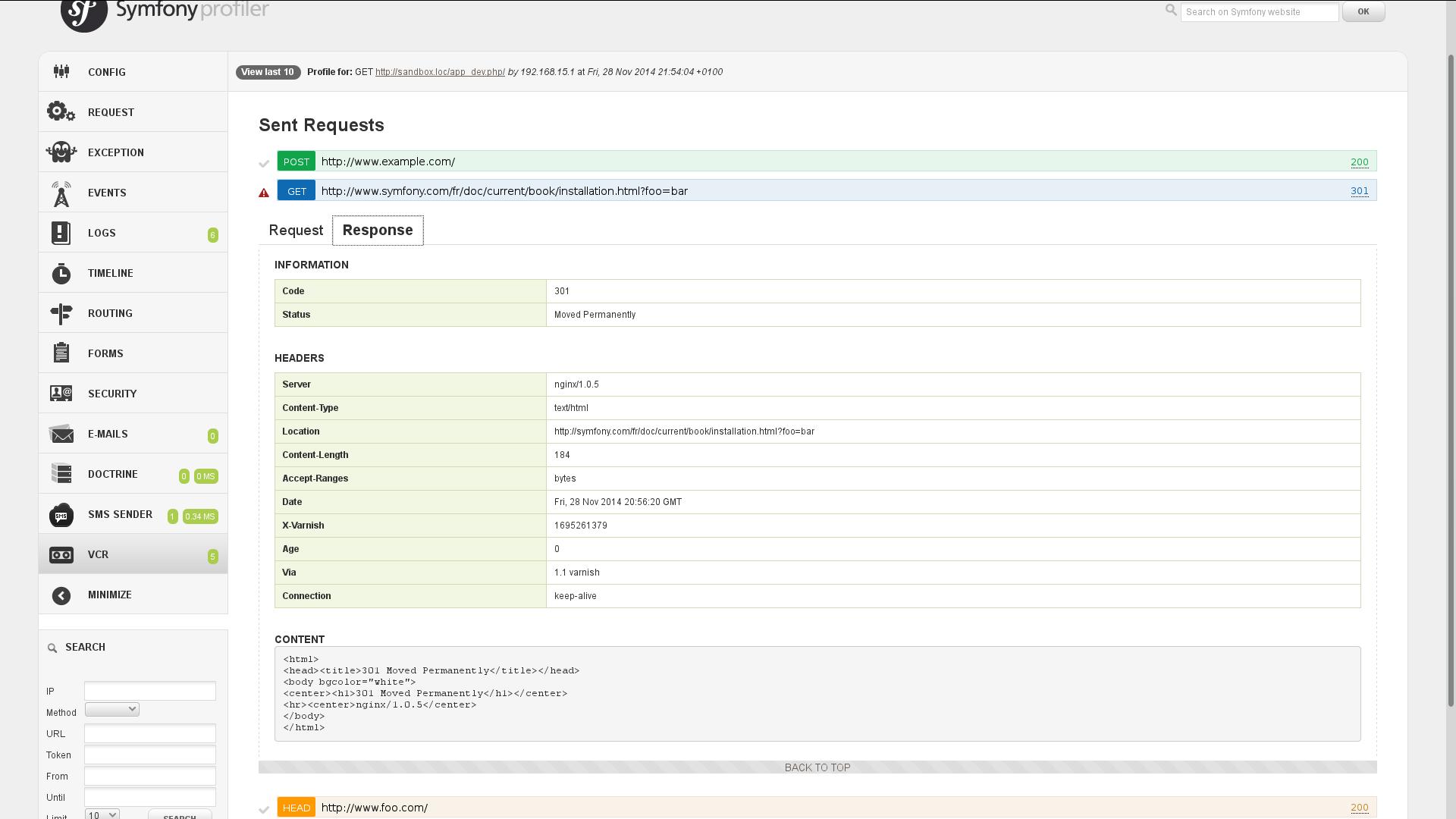 PHP-VCR Symfony web profiler panel - response details