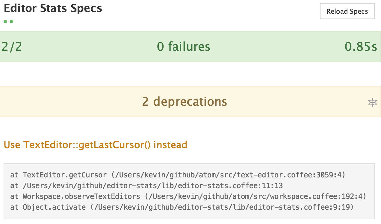 deprecations in specs