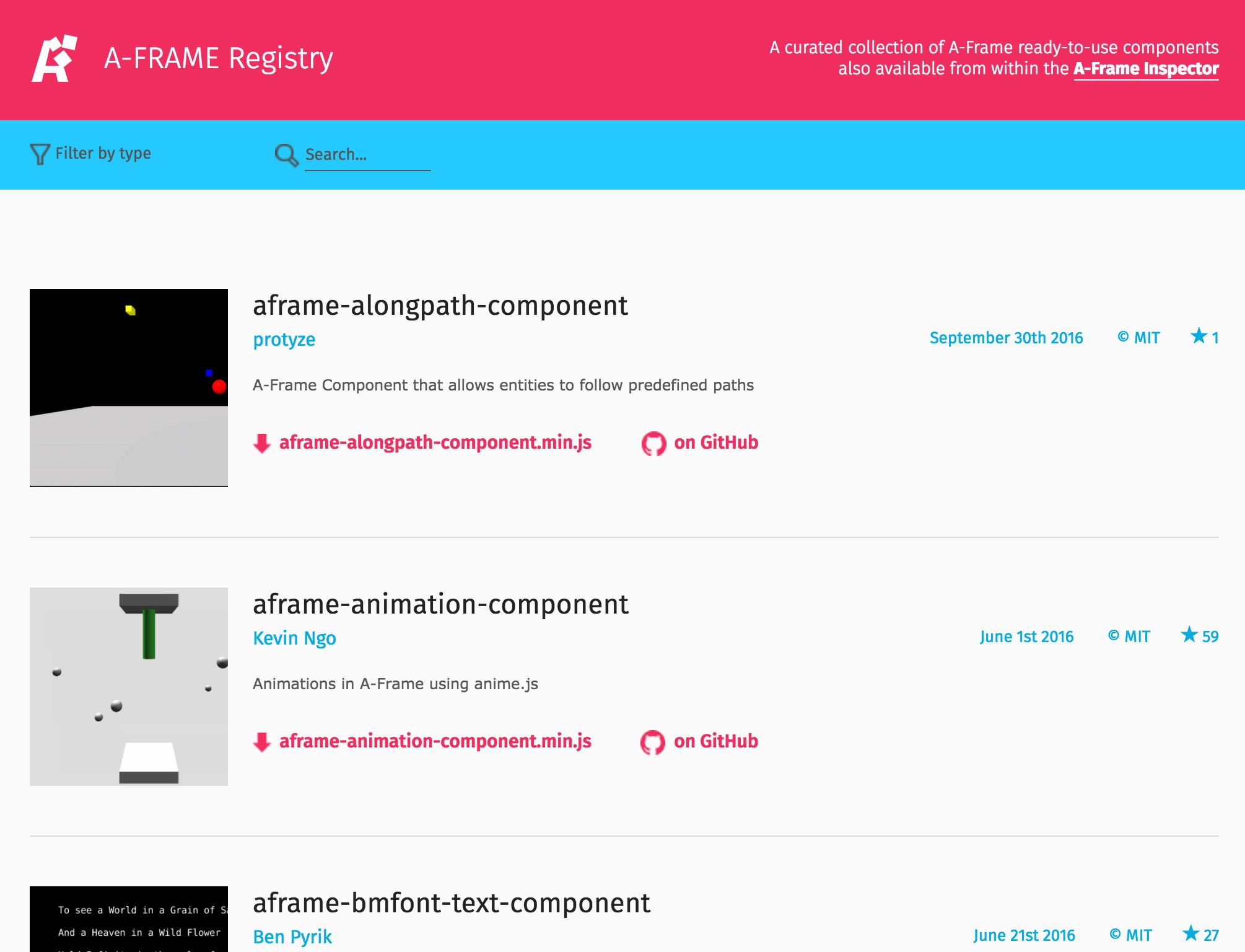 A-Frame Registry