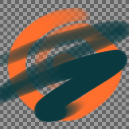 Normal example, orange swirl with transparency visible