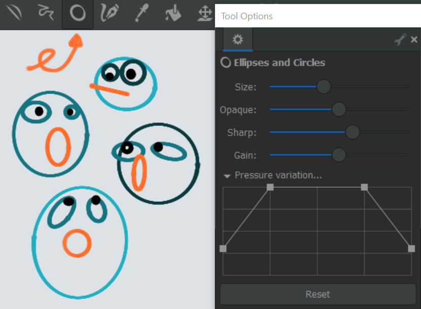 ellipses and circles overview, icon and tool options