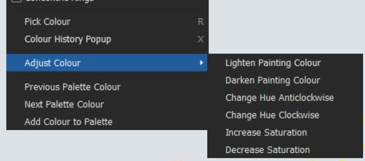 Color adjustments menu
