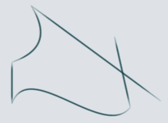 Curved and straight connected lines