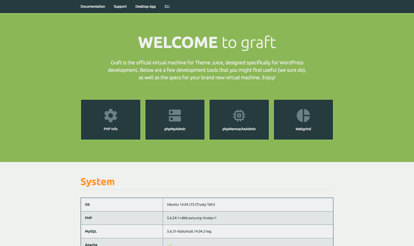 Graft VM dashboard screenshot