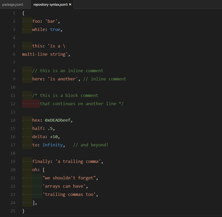 JSON5 syntax in VS Code