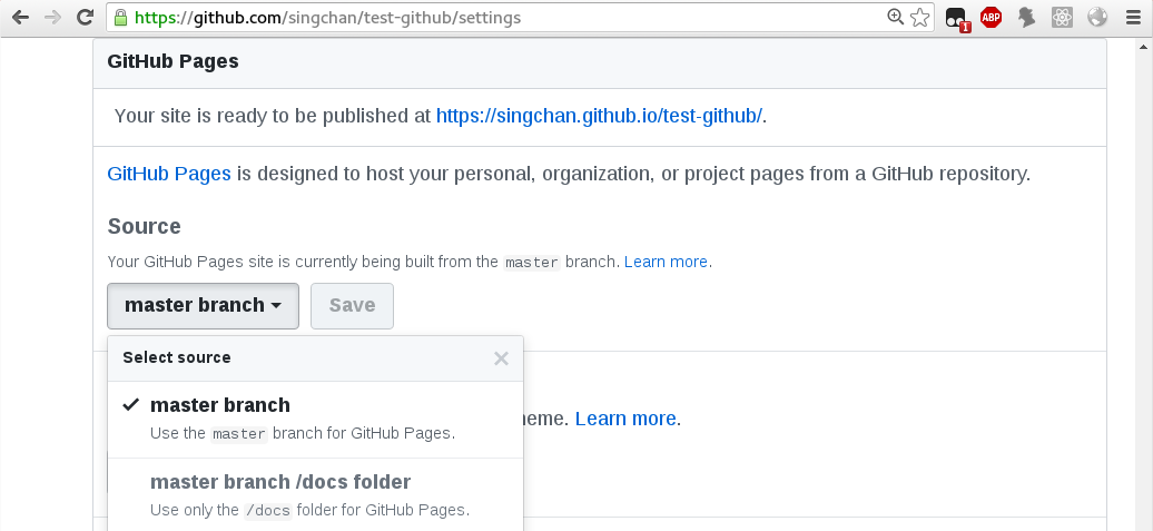 Your repository's settings, github pages section
