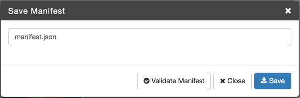 Save and Validate Manifest