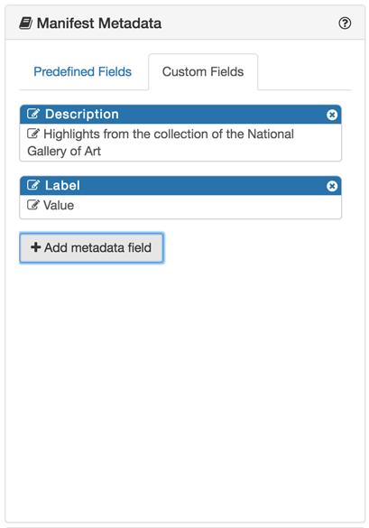 Manifest Metadata - Custom fields