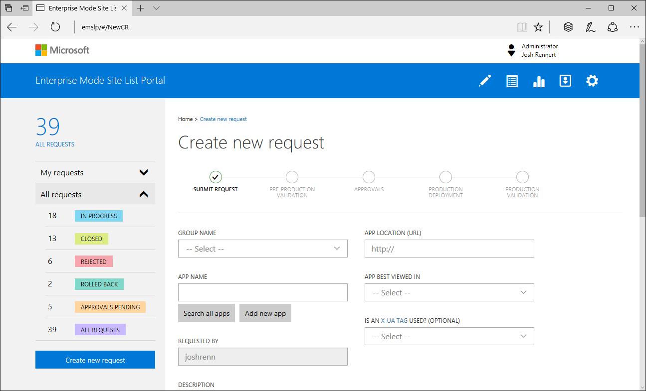 Enterprise Mode Site List Portal - Create new request page