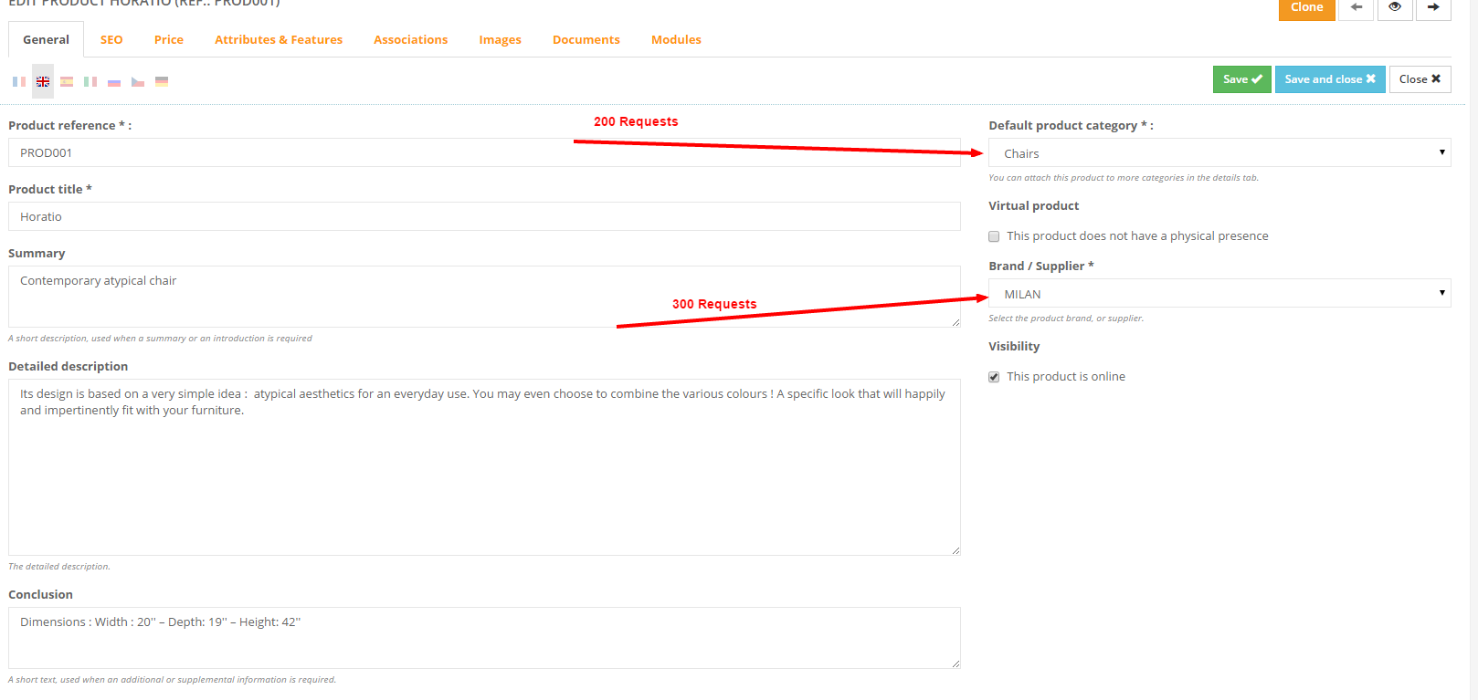 The product edit page will make 500 useless request on rewriting table.