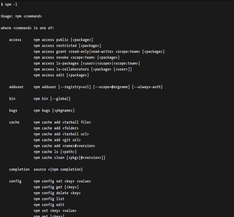 npm-command-listing