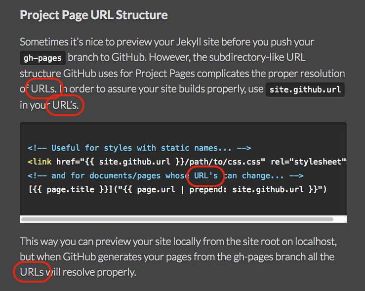 screenshot of documentation with urls marked