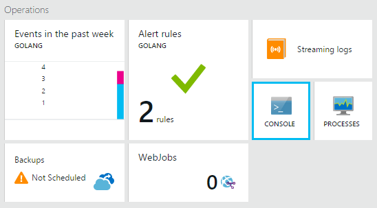 Open Console on the Azure websites blade