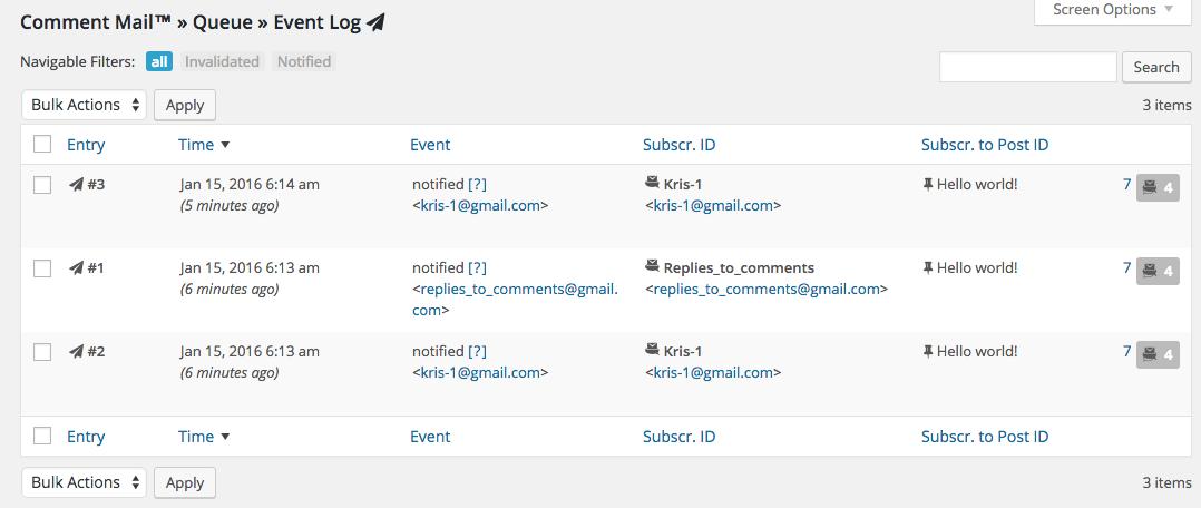 Comment Mail  Queue Event Log