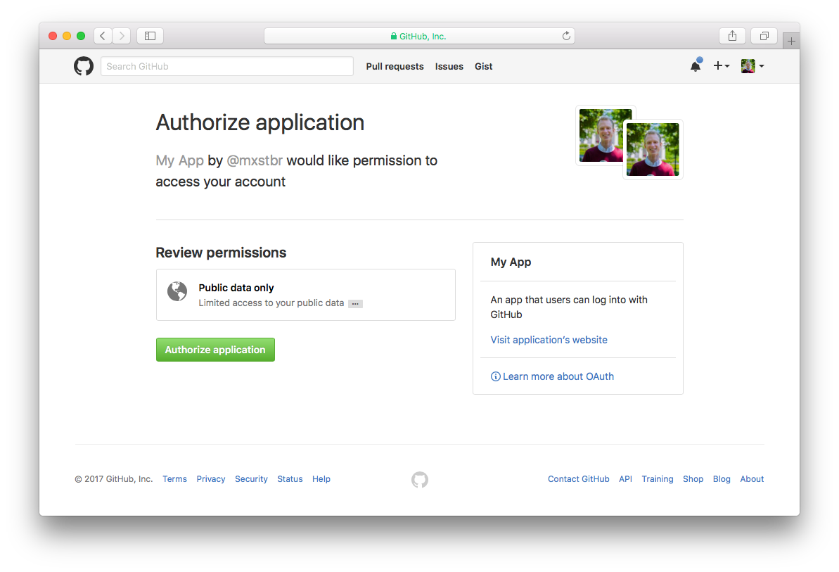 Authorize my app to access your data on GitHub