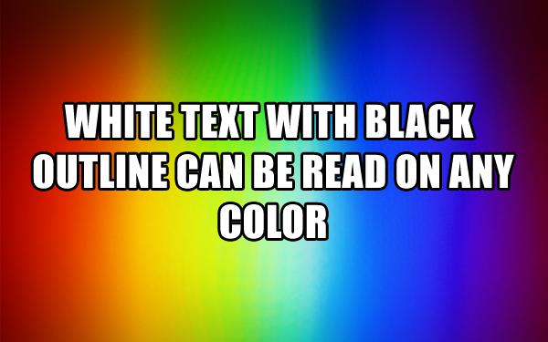 white-text-black-background