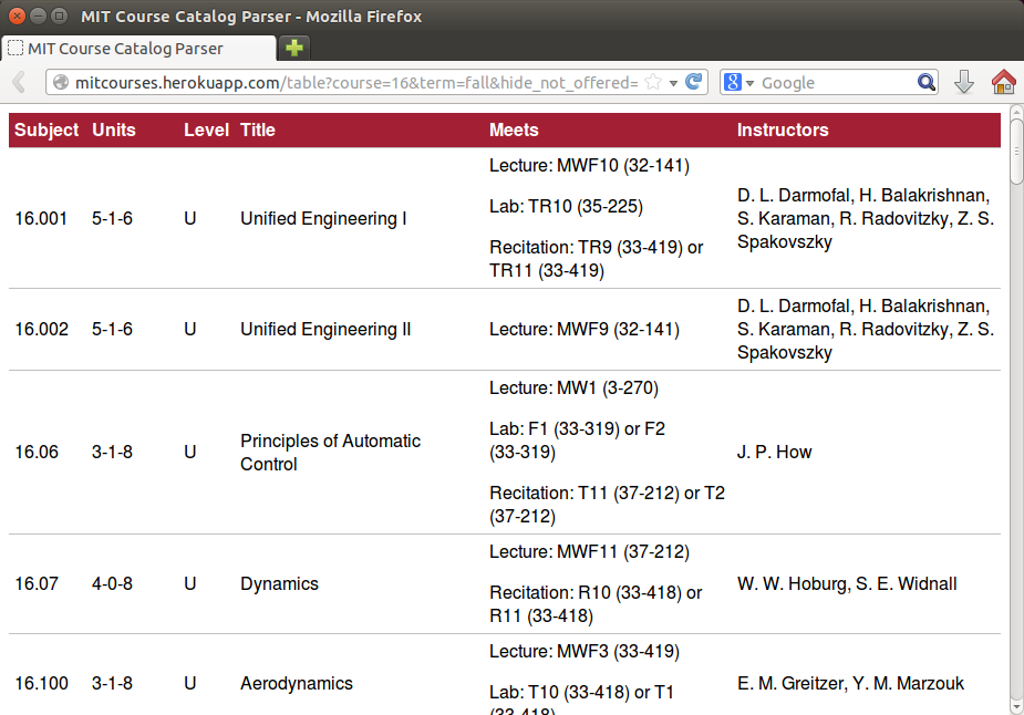 Screenshot of MIT Course Catalog Parser