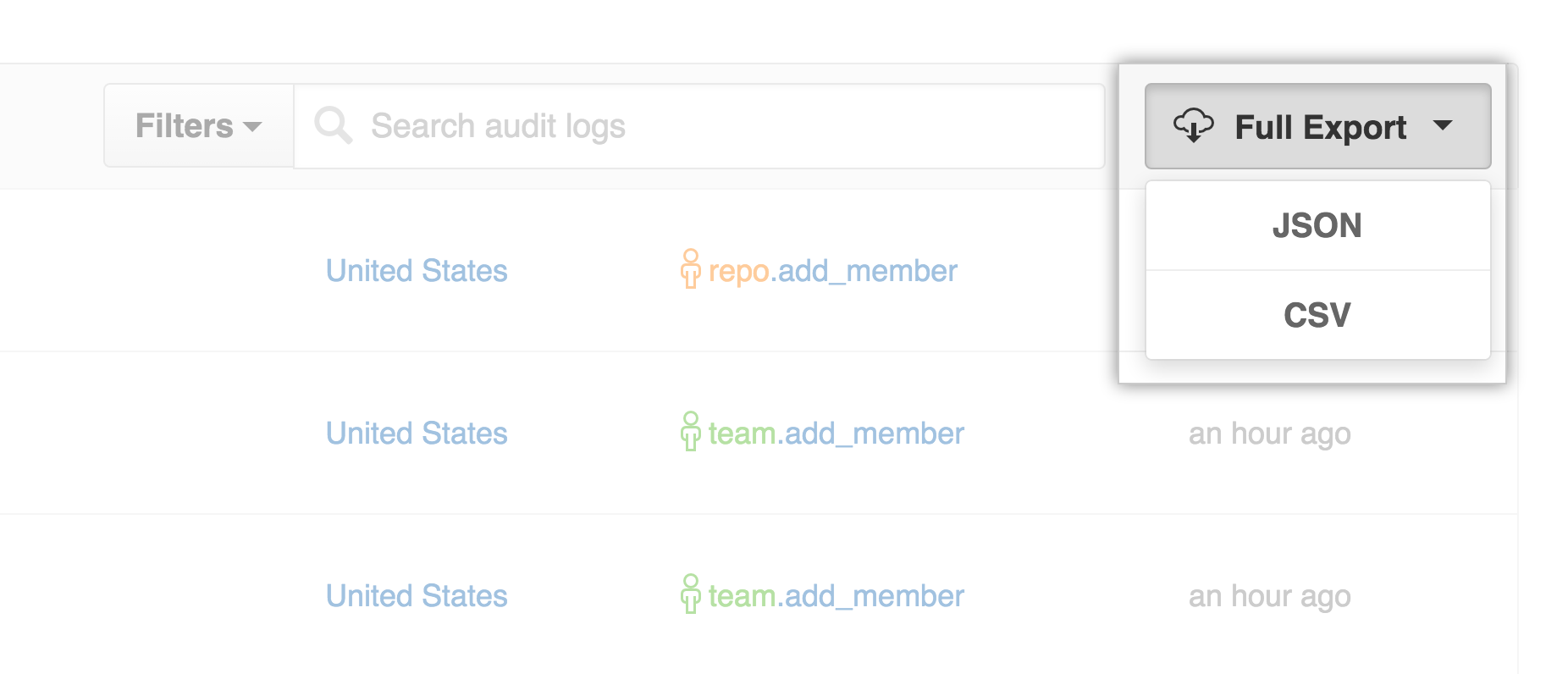 Audit log export