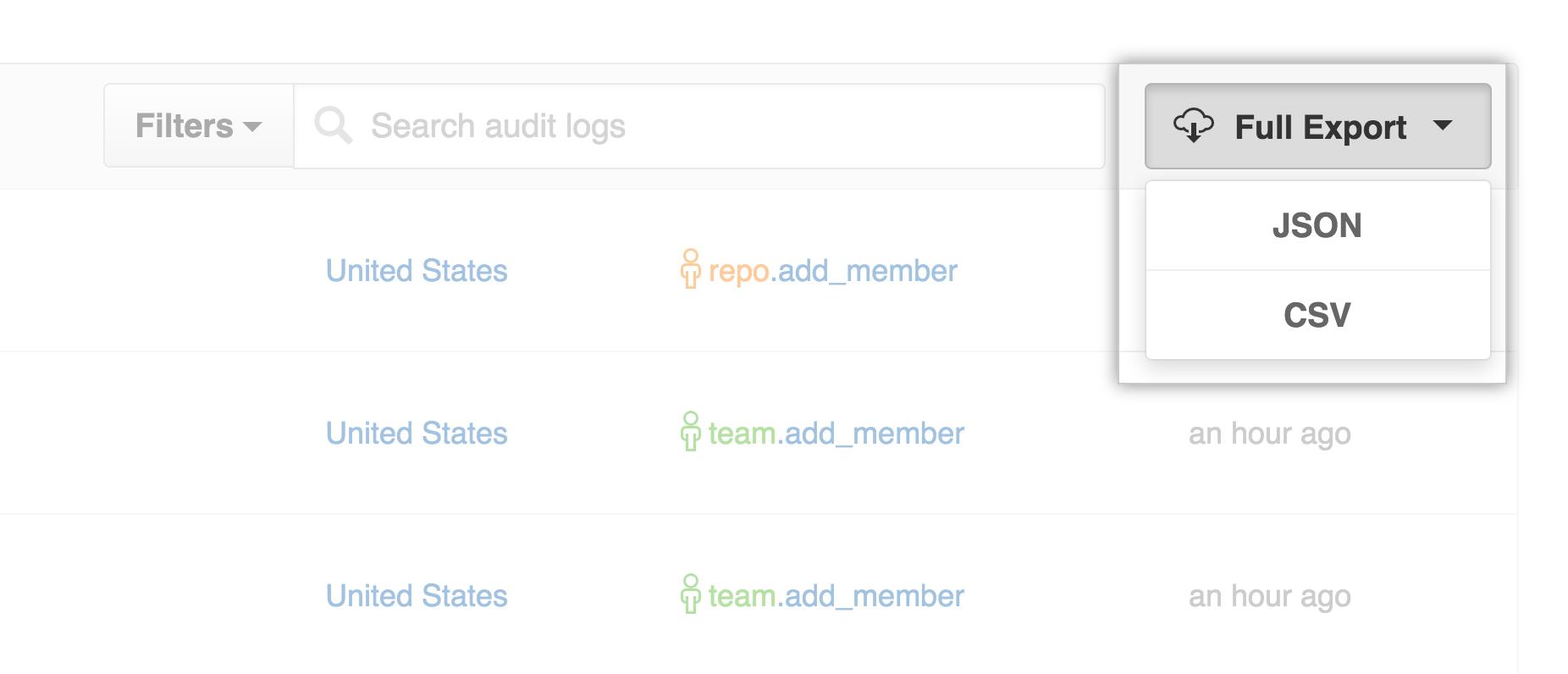 Audit log export