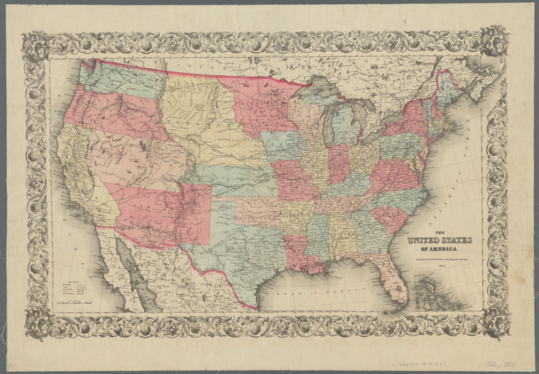 map of US states from 1855