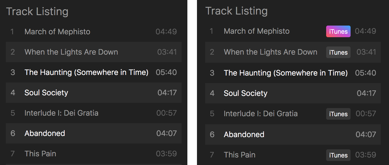 Track Listing Before and After