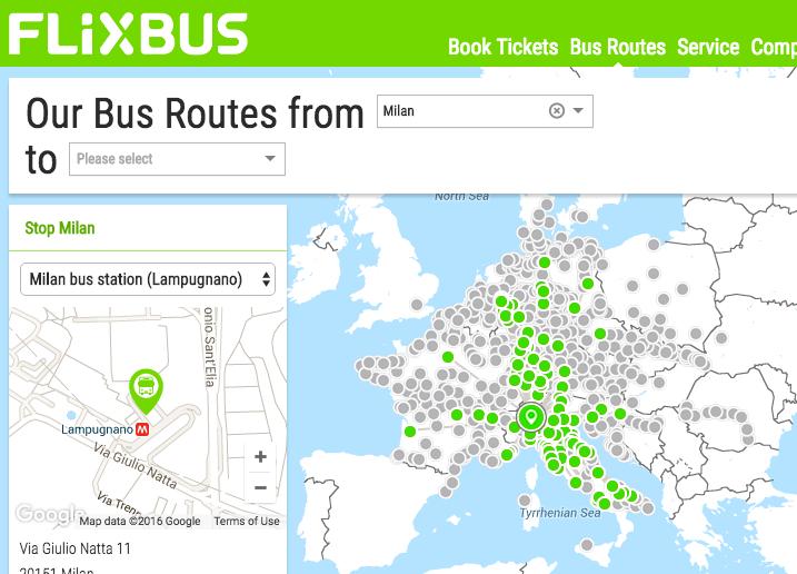 FlixBus Mappa bus