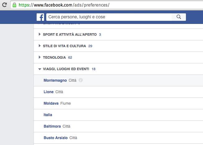 facebook pubblicità interessi