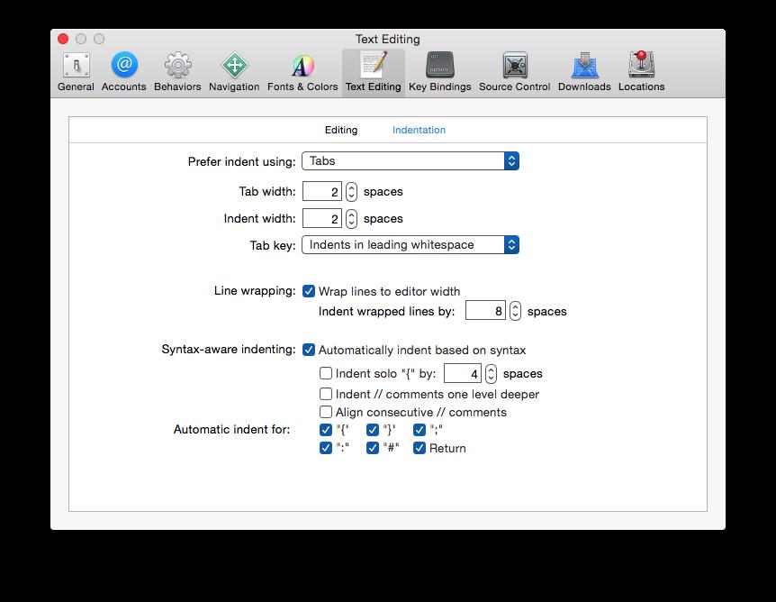 xcode indentation settings
