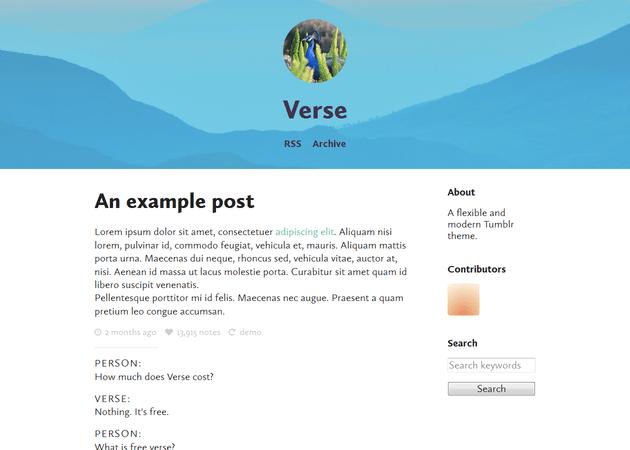 Screenshot of Verse Theme