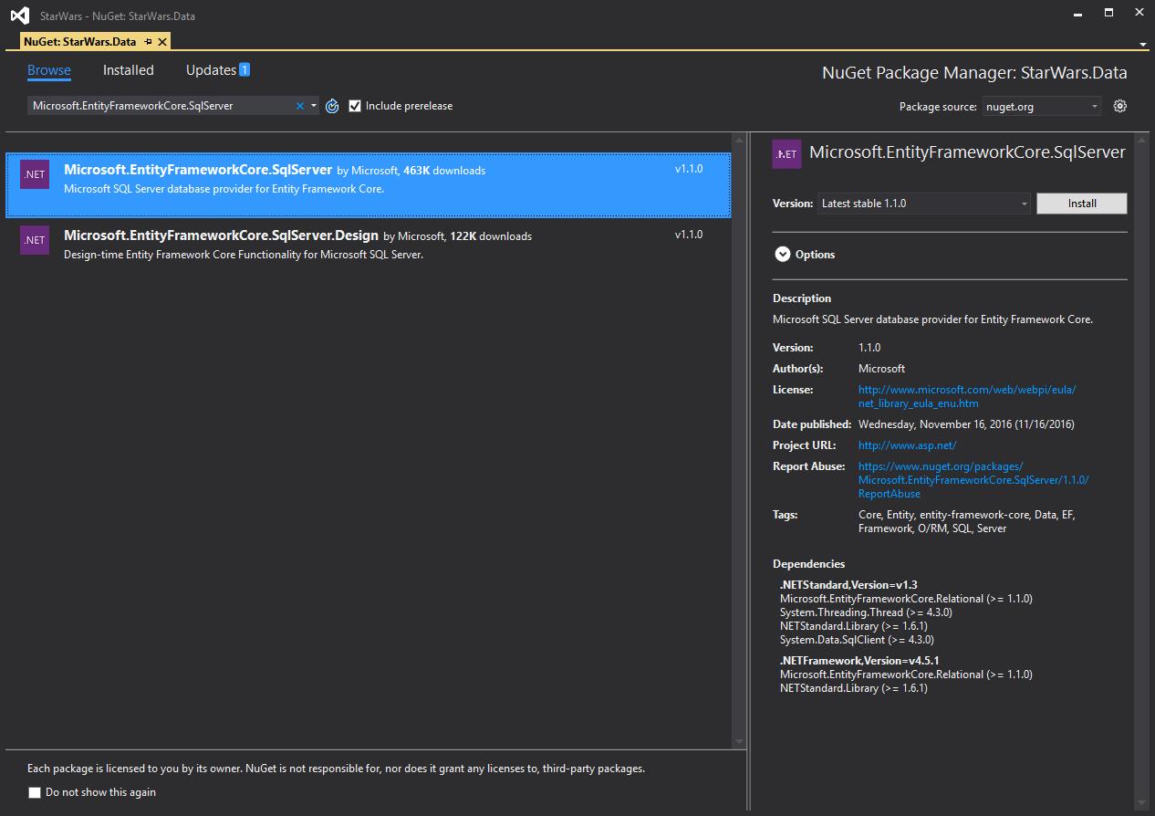 entity-framework-sql-server-provider-nuget