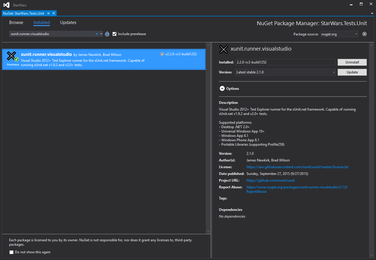 xunit-runner-visualstudio-nuget