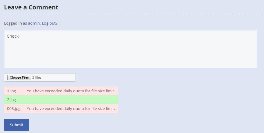 file size surpassed wp comment